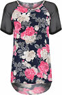 Womens Plus Floral Dip Hem Top Ladies Mesh Short Sleeve Print Hi Lo T-Shirt