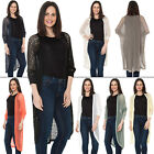 Womens Ladies Knitted Sweater Casual Long Cardigan Floaty Lace Net Layered Top L