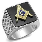 Men's Stainless Steel Master Masonic Square  Black Onyx Free Mason Lodge Ring
