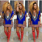Women Traditional African Print Sexy Dashiki Loose Short Sleeve Party Dress 6-16