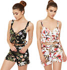 Womens Floral Print Crop Bralet Shorts Co-Ord Set Ladies Bra Top Loundwear Suit