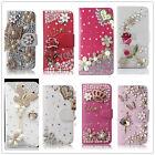 Fashion Bling Diamond Crystal PU Leather Card Wallet Case Stand Cover For Phones