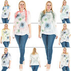 New Womens Italian Lagenlook Floral Print Mesh Net Shirt Scarf Top One Size