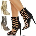 New Womens Ladies Caged High Heel Strappy Sandals Cut Out Ankle Boots Shoes Size