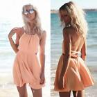 UK Women Summer Beach Dress Backless Short Mini Sleeveless Party Cocktail Dress