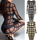 New Women Lady O Neck Sexy Bodycon Party Plaid Clubwear Cocktail Pencil Dress