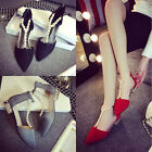 New Fashion Women Rhinestone Pointed Chunky Hells Cusp Beading Summer Shoes