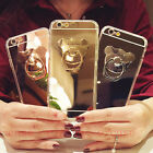 Bling Mirror Metal Rotation Stand Ring TPU Soft Gel Case Cover For Cell Phones