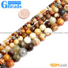 Natural Gemstone Nephrite Hua Show Jade Faceted Round Beads Free Shipping 15""