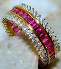 AWESOME PINK TOPAZ   925 STERLING SILVER PLATED WITH GOLD  RING