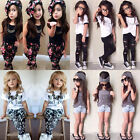 New Baby Girls Fashionable Hairband+T-shirt+pants kids clothing Set Outfits 2-7T