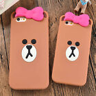 New Cartoon cute Bear Brown Bow Silicone soft Case Cover for iPhone 6 6S Plus 5S