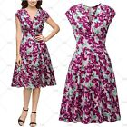 Ladies Summer Elegant Evening Party Casual Wear Floral Wiggle Pleated Dresses
