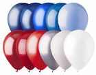 "48 - 12"" Solid Latex Balloons Patriotic Inspired Color Palette Red White & Blue"