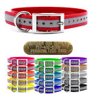 """Hunting Dog Reflective Name Collar 1"""" With D Ring & Brass Tag ID Plate"""