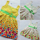 Girls Ladybug Polka Dot Summer Dress Yellow Whites Back Button Sz 18m to 5 6t 7