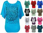 LADIES ANIMAL PRINT BATWING SILVER GLITTER WOMENS TOP