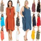 New Womens Italian Linen Lagenlook Scoop Neck Bow Pocket Dress Plus Size