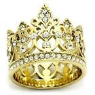Stainless Steel Gold EP Princess Tiara Crown Crystal Wide band Ring