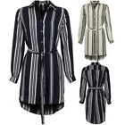 Ladies Turn Up Long Sleeve Stripe Belted Chiffon Shirt Long Collared Blouse