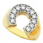 Men's Gold Stainless Steel Gold GP cz Ring lucky Good Luck horseshoe Ring