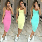 UK Womens Slim Sexy Bandage Bodycon Dress Ladies Party Pencil Dress Midi Dress