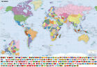 WORLD MAP POSTER - VARIOUS SIZES - WATERPROOF WIPE CLEAN LAMINATED OPTION