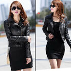 Women Biker Motorcycle Synthetic Leather Jacket Short Slim Coat Black Outwear JR