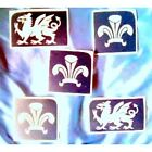 5x WELSH dragon feather STENCILS 4ur GLITTER TATTOO KIT*new  2012*best prof qual