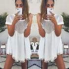 O Neck Hollow Out Mini Women Dresses Short Sleeve Party Dress Sexy Loose