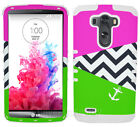 For LG Optimus G3 Impact Cover Case Green Pink Chevron Anchor White Silicone