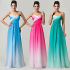 OMBRE Chiffon Long Formal Evening Bridesmaid Prom Party WEDDING Gown Maxi Dress