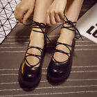 vintage Womens lace-up creeper wedge heel sandals round toe casual shoes
