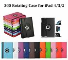 New Leather 360 Degree Rotating Smart Stand Case Cover For Apple iPad 4 3 2
