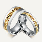 Classic Size 7-12 Band Gold Titanium Steel  Couples Promise Wedding Ring Gift