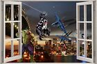 Huge 3D Window view Super Heroes over New York City Wall Sticker Film Decal 1155