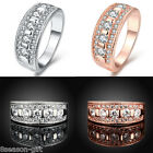 GIFT Women Lady New Simple Crystal Auger Ring Jewelry Wedding Gift Size 8