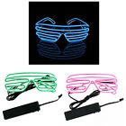 Wire Neon LED Light Up Shutter Shaped Glasses Costume Party Glow in the dark New