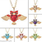 GIFT Brand Women Fashion Gold Plated DIY Diamante Owl Pendant Necklace