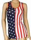 Ladies Vest Tops USA FLAG Design Stars & Stripes Sizes S/M(UK6-8) M/L(UK8-10)