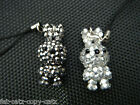 TINY CUTE BLING JEWELLED DIAMONTE HANDMADE BUNNY RABBIT PHONE HANDBAG CHARM 4cm