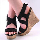 NEW WOMENS BLACK FRAYED CANVAS STRAP HIGH WEDGE HEEL SANDAL