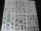 1x SHEET UNISEX GIRLS LADIES TEMPORARY TATTOOS BLACK ARTY BUTTERFLY ROSES CELTIC