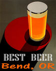 POSTER BEST BEER BEND OREGON BREWERIES PALE LAGER DRINK VINTAGE REPRO FREE S/H