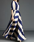 Women's Ladies Striped Dress Summer Boho Evening Party Long Chiffon Maxi Beach