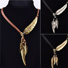 Vintage Bronze Rope Chain Feather Pendant Choker Chunky Statement Necklace JR