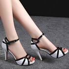 Women's White And Black Open Toes Ankle Straps Dress Royal High Heel Sandals