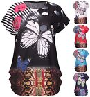 Womens Plus Size Butterfly Spot Sequin Animal Print Ladies Cap Sleeve Baggy Top