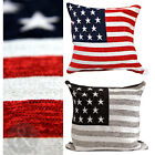 Stars & Stripes American Flag Chenille Scatter Cushion Cover With Plain Reverse
