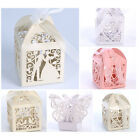 25/50/100 Love Heart Laser Cut Candy Gift Boxes With Ribbon Wedding Party Favor